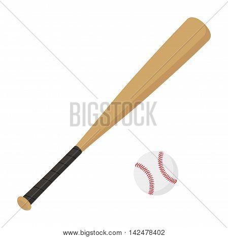 Flat icon baseball bat and ball. Sport. Vector illustration.