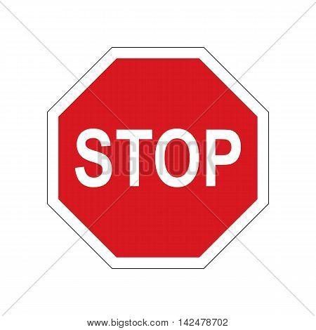 Traffic sign stop. Road sign. Vector illustration.