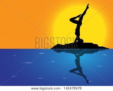 Yoga Headstand Variation Sea Background