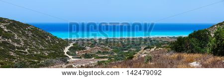 Panoramic landscape of the Aegean sea beach, Rhodes, Greece