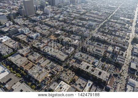Afternoon aerial of the Korea Town area of Los Angeles, California.