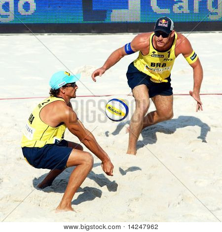 PRAGUE - JUNE 18: Alison Cheruti & Emanuel Rego team from Brasil at SWATCH FIVB World Tour 2010 June 18, 2010 Prague
