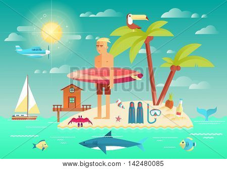 Flat design style vector illustration with summer concept for vacation traveling and recreation. Surfer with surfboard. Icons collection