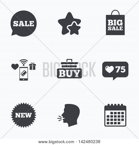 Sale speech bubble icon. Buy cart symbol. New star circle sign. Big sale shopping bag. Flat talking head, calendar icons. Stars, like counter icons. Vector