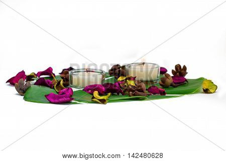 Fresh colorful composition of two burning candles fragrant potpourri on monstera leaf