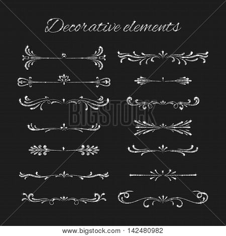 Flourishes with silvery glitter effect. Silver text dividers set. Ornamental decorative elements. Vector ornate design. Shiny decorative hand drawn borders. Calligraphic decorations with sparkles.