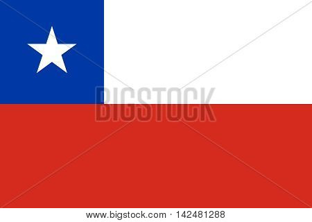 Flag of Chile in correct size proportions and colors. Accurate dimensions. Chilean national flag.