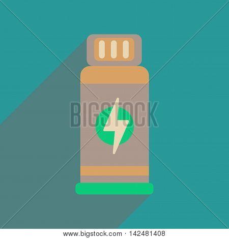 Flat web icon with long  shadow jar Energy