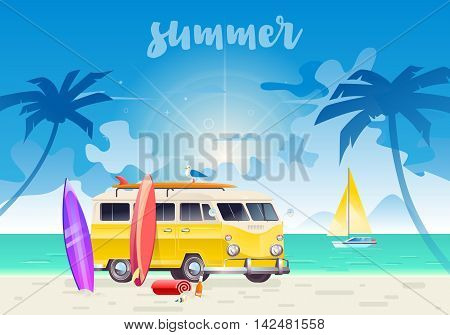 Summer colorful illustration. Camper van wagon truck. Summer surf surfing vacation. Travel van on beautiful ocean landscape background with palm trees.