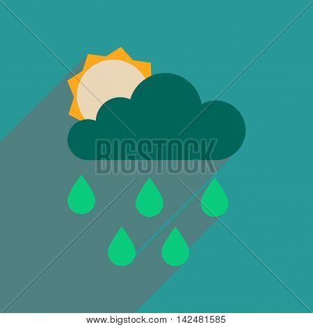 Flat web icon with long  shadow sun clouds rain