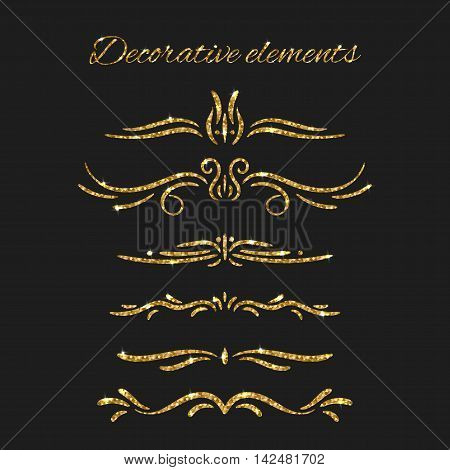 Ornamental decorative elements. Gold text dividers set. Vector ornate design. Golden flourishes. Shiny decorative hand drawn borders with glitter effect. Calligraphic decorations with sparkles.