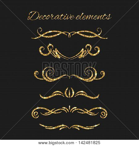 Dividers set. Ornamental decorative elements. Vector ornate gold text divider. Golden flourishes. Shiny decorative hand drawn borders with glitter effect. Calligraphic decorations with sparkles.