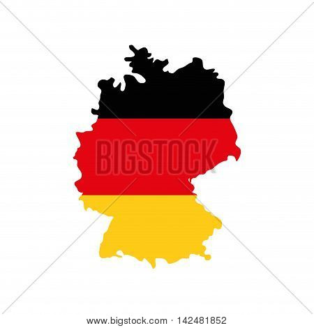 flag map colors germany europe icon. Isolated and flat illustration