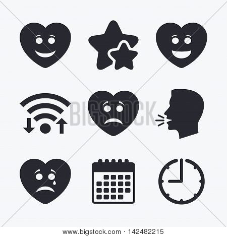 Heart smile face icons. Happy, sad, cry signs. Happy smiley chat symbol. Sadness depression and crying signs. Wifi internet, favorite stars, calendar and clock. Talking head. Vector