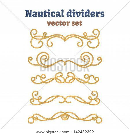 Dividers set. Nautical ropes. Decorative vector knots. Ornamental decor elements with rope. Isolated design.