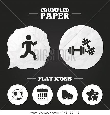 Crumpled paper speech bubble. Football ball, Roller skates, Running icons. Fitness sport symbols. Gym workout equipment. Paper button. Vector