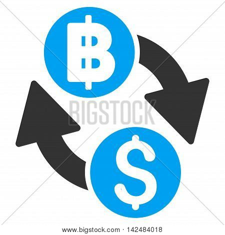 Dollar Baht Exchange icon. Vector style is bicolor flat iconic symbol with rounded angles, blue and gray colors, white background.