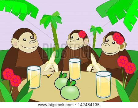 Three monkeys sitting at a table with fruits and juice glass.