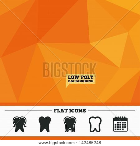 Triangular low poly orange background. Tooth enamel protection icons. Dental toothpaste care signs. Healthy teeth sign. Calendar flat icon. Vector