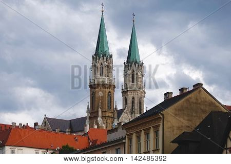 Klosterneuburg, Austria, July 31, 2016: The towers of the monastery in Klosterneuburg, Austria.