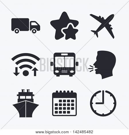 Transport icons. Truck, Airplane, Public bus and Ship signs. Shipping delivery symbol. Air mail delivery sign. Wifi internet, favorite stars, calendar and clock. Talking head. Vector