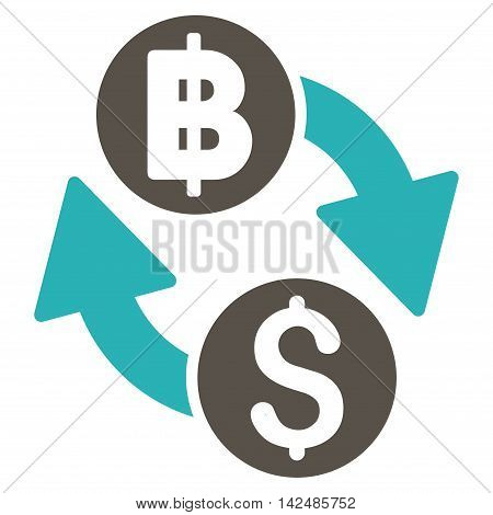 Dollar Baht Exchange icon. Glyph style is bicolor flat iconic symbol with rounded angles, grey and cyan colors, white background.