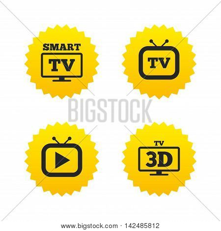 Smart 3D TV mode icon. Widescreen symbol. Retro television and TV table signs. Yellow stars labels with flat icons. Vector