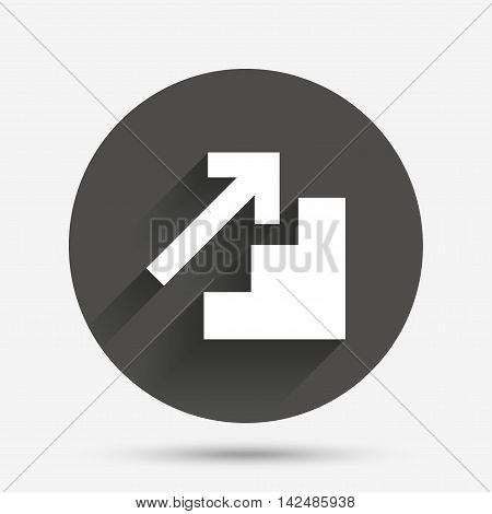Upstairs icon. Up arrow sign. Circle flat button with shadow. Vector