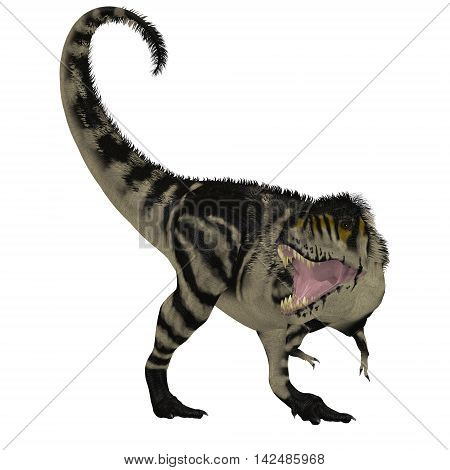 Black White T-Rex Dinosaur 3D Illustration - Tyrannosaurus Rex was a carnivorous dinosaur that lived in the Cretaceous Period of North America.