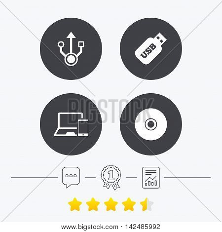 Usb flash drive icons. Notebook or Laptop pc symbols. Smartphone device. CD or DVD sign. Compact disc. Chat, award medal and report linear icons. Star vote ranking. Vector