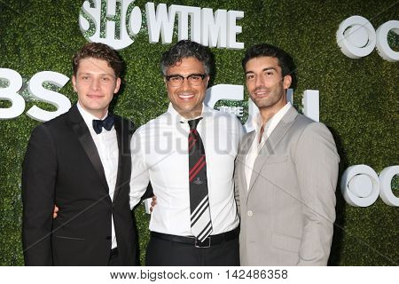 LOS ANGELES - AUG 10:  Brett Dier, Jaime Camil, Justin Baldoni at the CBS, CW, Showtime Summer 2016 TCA Party at the Pacific Design Center on August 10, 2016 in West Hollywood, CA