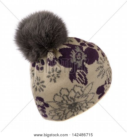 Knitted Hat With Pompon Isolated On White Background .