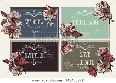 Collection or vector set of save the date templates with flowers. Ideal for invitations design in vintage style