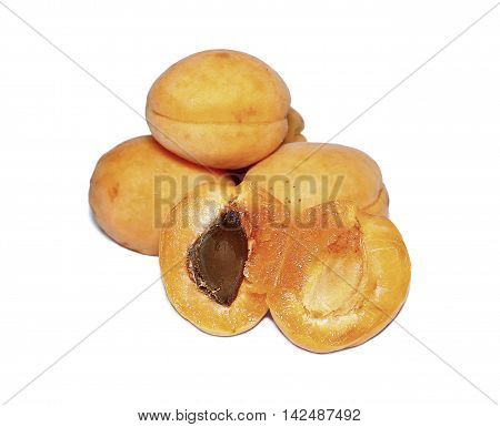 Fresh fruits of apricot isolated on white background