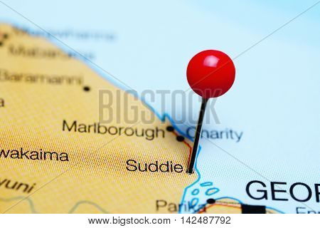Suddie pinned on a map of Guyana