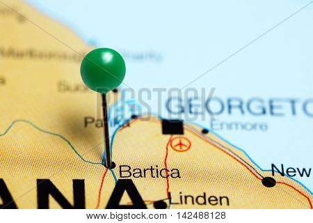 Bartica pinned on a map of Guyana