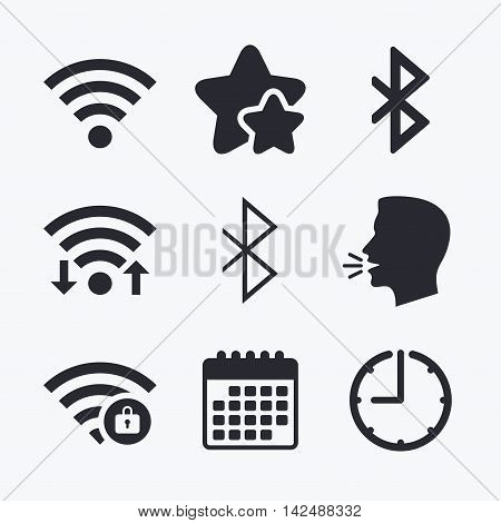 Wifi and Bluetooth icons. Wireless mobile network symbols. Password protected Wi-fi zone. Data transfer sign. Wifi internet, favorite stars, calendar and clock. Talking head. Vector