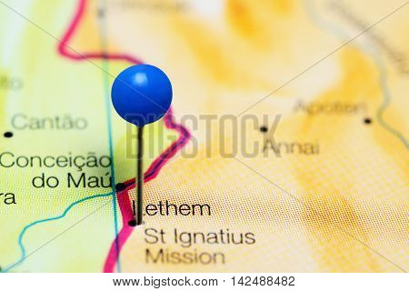 Lethem pinned on a map of Guyana