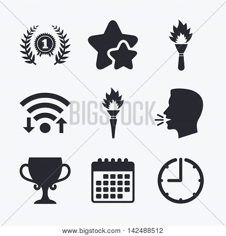First place award cup icons. Laurel wreath sign. Torch fire flame symbol. Prize for winner. Wifi internet, favorite stars, calendar and clock. Talking head. Vector