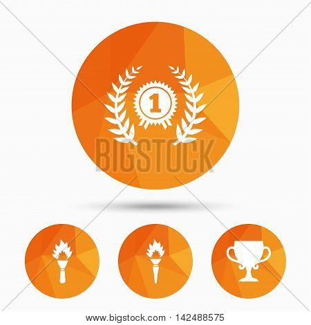 First place award cup icons. Laurel wreath sign. Torch fire flame symbol. Prize for winner. Triangular low poly buttons with shadow. Vector
