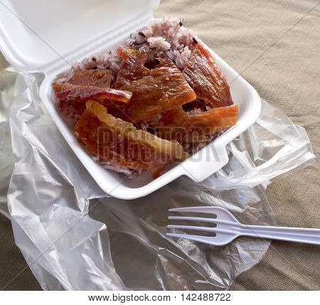 Black Sticky rice and Roast pork in foam box