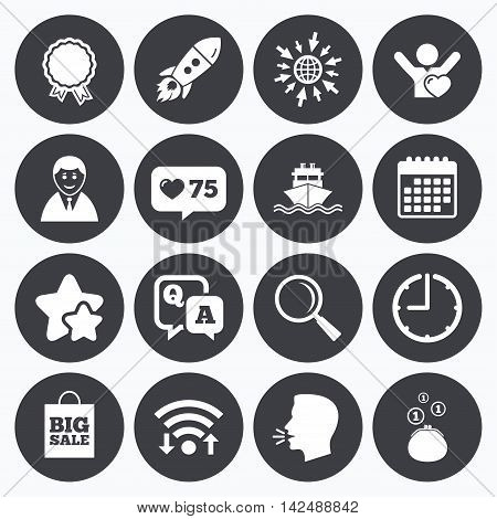 Calendar, wifi and clock symbols. Like counter, stars symbols. Online shopping, e-commerce and business icons. Startup, award and customers like signs. Cash money, shipment and sale symbols. Talking head, go to web symbols. Vector