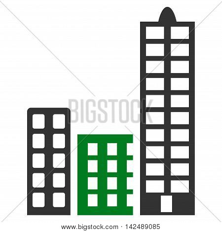City icon. Vector style is bicolor flat iconic symbol with rounded angles, green and gray colors, white background.