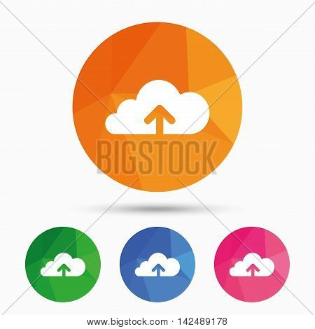 Upload from cloud icon. Upload button. Load symbol. Triangular low poly button with flat icon. Vector