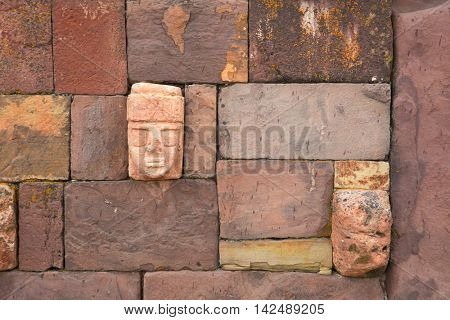 Tenon Heads - Tiwanaku - Bolivia. A pre-Inca archeological site on the Boivian Alti plano.