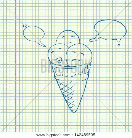Icecream Cone Three Flavours. Speech Bubbles
