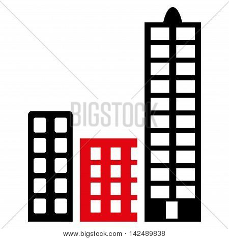 City icon. Vector style is bicolor flat iconic symbol with rounded angles, intensive red and black colors, white background.
