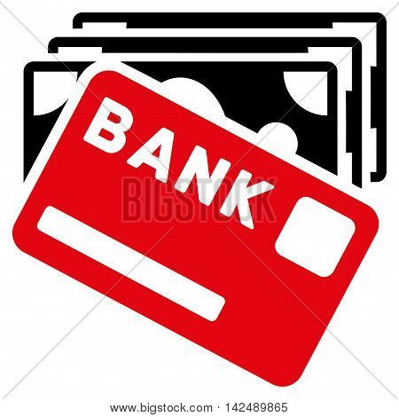 Credit Money icon. Vector style is bicolor flat iconic symbol with rounded angles, intensive red and black colors, white background.