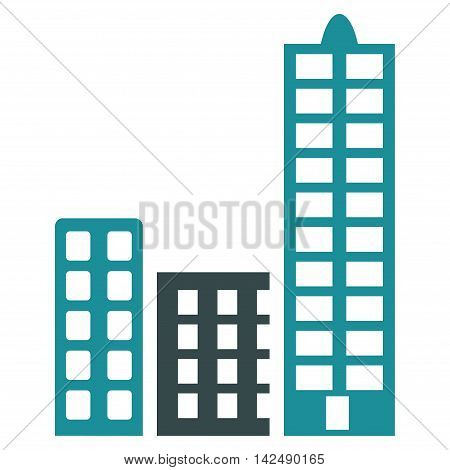 City icon. Vector style is bicolor flat iconic symbol with rounded angles, soft blue colors, white background.
