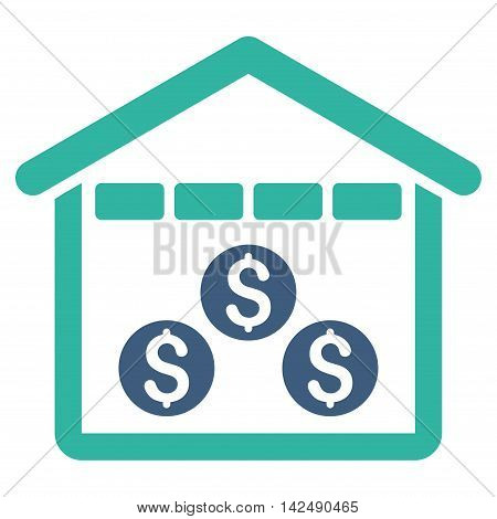 Money Depository icon. Vector style is bicolor flat iconic symbol with rounded angles, cobalt and cyan colors, white background.